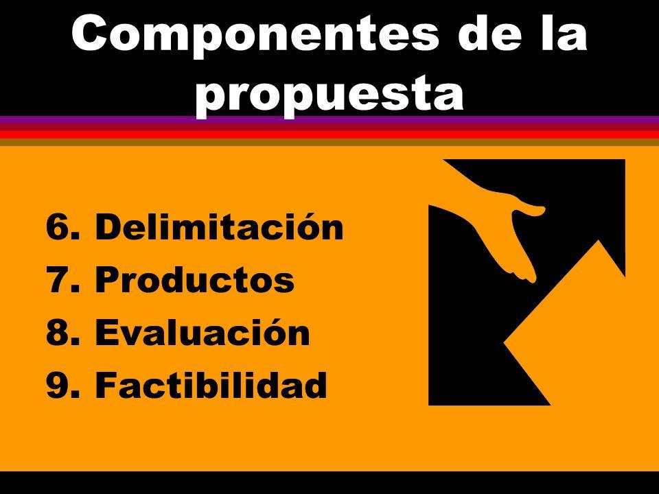 Componentes de la propuesta 1. Objetivos y metas 2. Antecedentes 3. Justificación 4. Marco teórico 5. Metodología
