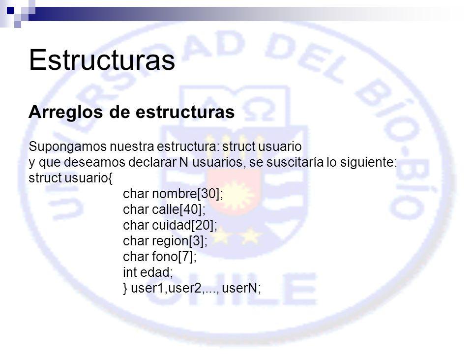 Estructuras Arreglos de estructuras Supongamos nuestra estructura: struct usuario y que deseamos declarar N usuarios, se suscitaría lo siguiente: struct usuario{ char nombre[30]; char calle[40]; char cuidad[20]; char region[3]; char fono[7]; int edad; } user1,user2,..., userN;