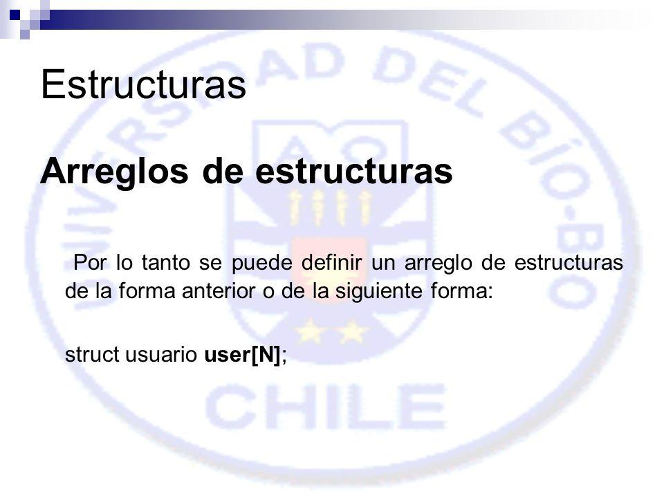 Estructuras Arreglos de estructuras Por lo tanto se puede definir un arreglo de estructuras de la forma anterior o de la siguiente forma: struct usuario user[N];