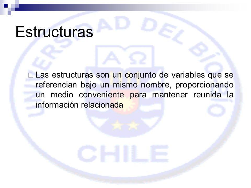 Estructuras Las estructuras son un conjunto de variables que se referencian bajo un mismo nombre, proporcionando un medio conveniente para mantener reunida la información relacionada