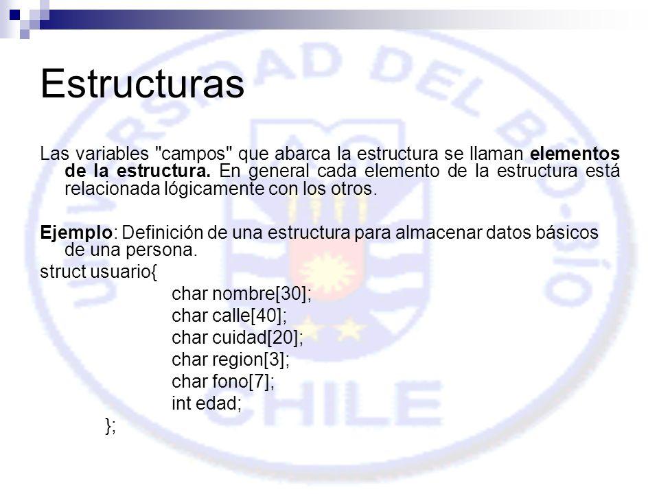 Estructuras Las variables campos que abarca la estructura se llaman elementos de la estructura.