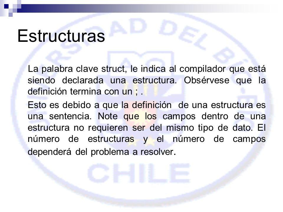 Estructuras La palabra clave struct, le indica al compilador que está siendo declarada una estructura.
