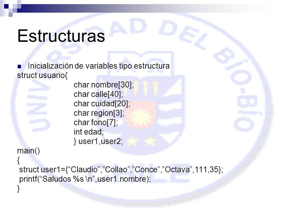 Estructuras Inicialización de variables tipo estructura struct usuario{ char nombre[30]; char calle[40]; char cuidad[20]; char region[3]; char fono[7]; int edad; } user1,user2; main() { struct user1={Claudio,Collao,Conce,Octava,111,35}; printf(Saludos %s \n,user1.nombre); }