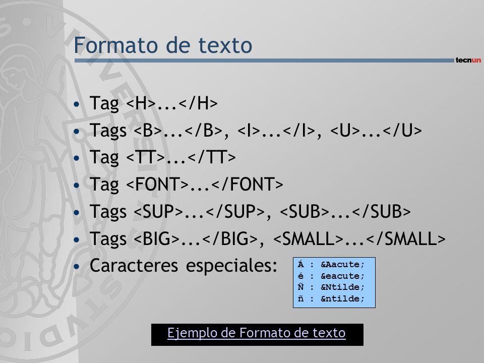 Formato de texto Tag... Tags...,...,... Tag... Tags...,... Caracteres especiales: Á : Á é : é Ñ : Ñ ñ : ñ Ejemplo de Forma