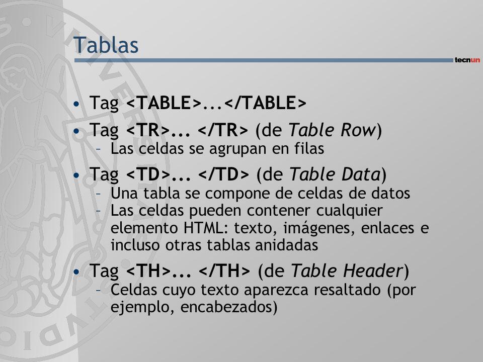 Tablas Tag... Tag... (de Table Row) –Las celdas se agrupan en filas Tag... (de Table Data) –Una tabla se compone de celdas de datos –Las celdas pueden