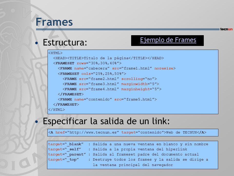 Frames Estructura: Especificar la salida de un link: Título de la página Web de TECNUN target=_blank : Salida a una nueva ventana en blanco y sin nomb
