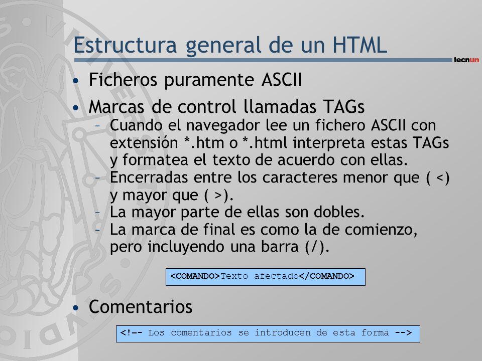 Estructura general de un HTML Ficheros puramente ASCII Marcas de control llamadas TAGs –Cuando el navegador lee un fichero ASCII con extensión *.htm o