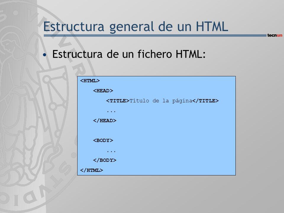 Estructura general de un HTML Estructura de un fichero HTML: Título de la página......
