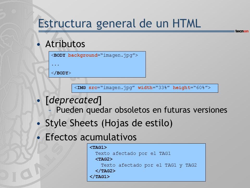 Estructura general de un HTML Atributos [deprecated] –Pueden quedar obsoletos en futuras versiones Style Sheets (Hojas de estilo) Efectos acumulativos
