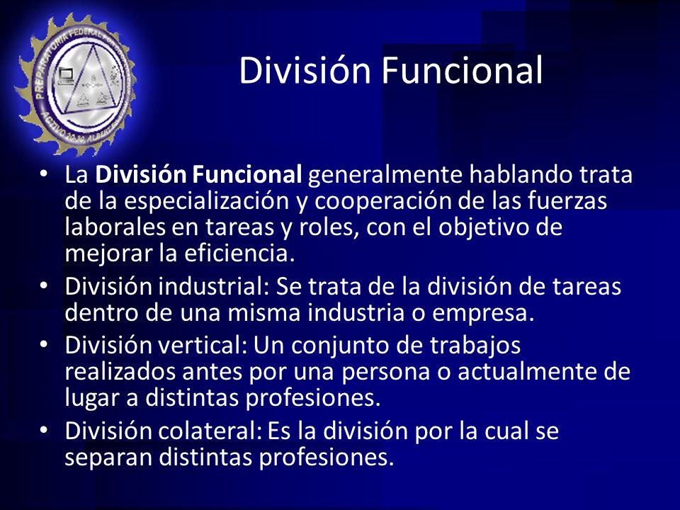 División Funcional La División Funcional generalmente hablando trata de la especialización y cooperación de las fuerzas laborales en tareas y roles, c