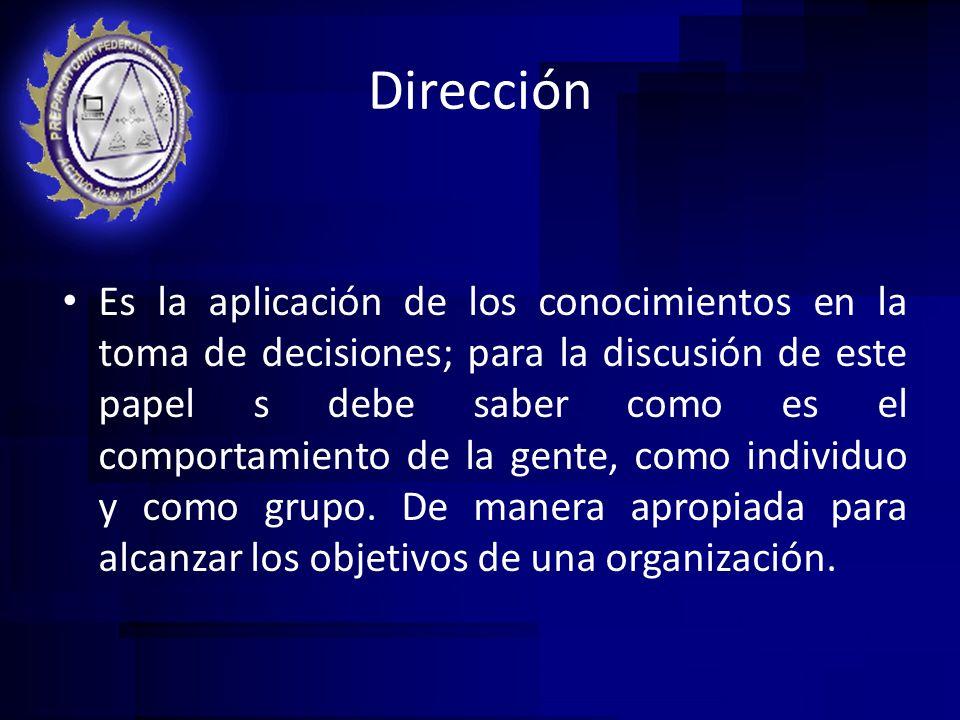 Dirección Es la aplicación de los conocimientos en la toma de decisiones; para la discusión de este papel s debe saber como es el comportamiento de la
