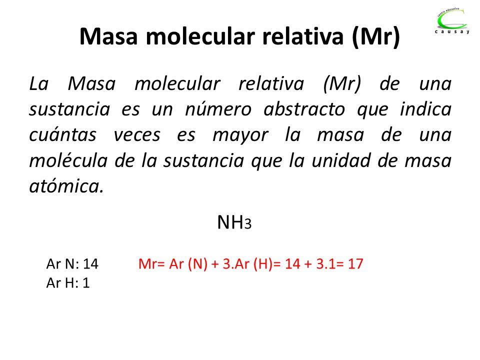 Masa molecular relativa (Mr) La Masa molecular relativa (Mr) de una sustancia es un número abstracto que indica cuántas veces es mayor la masa de una