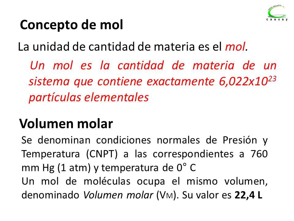 Concepto de mol La unidad de cantidad de materia es el mol. Un mol es la cantidad de materia de un sistema que contiene exactamente 6,022x10 23 partíc