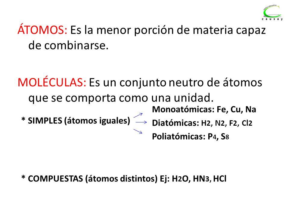 ÁTOMOS: Es la menor porción de materia capaz de combinarse. MOLÉCULAS: Es un conjunto neutro de átomos que se comporta como una unidad. * SIMPLES (áto
