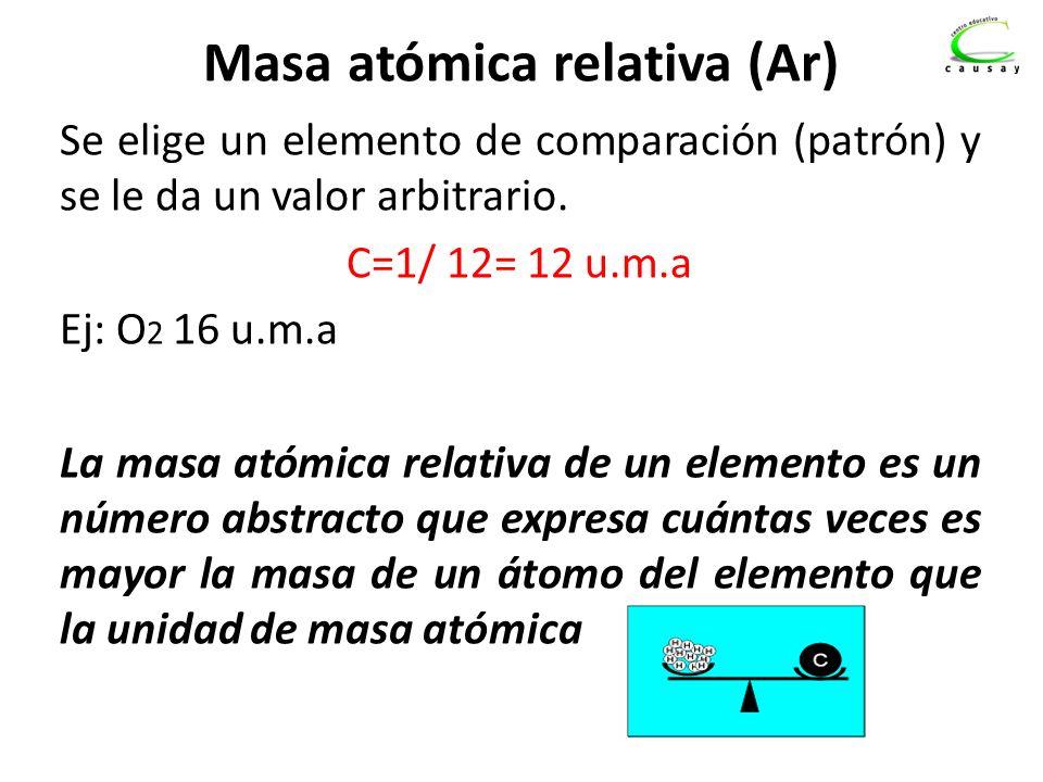 Masa atómica relativa (Ar) Se elige un elemento de comparación (patrón) y se le da un valor arbitrario. C=1/ 12= 12 u.m.a Ej: O 2 16 u.m.a La masa ató