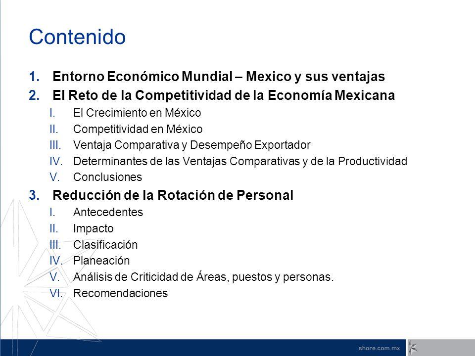 Contenido 1.Entorno Económico Mundial – Mexico y sus ventajas 2.El Reto de la Competitividad de la Economía Mexicana I.El Crecimiento en México II.Com