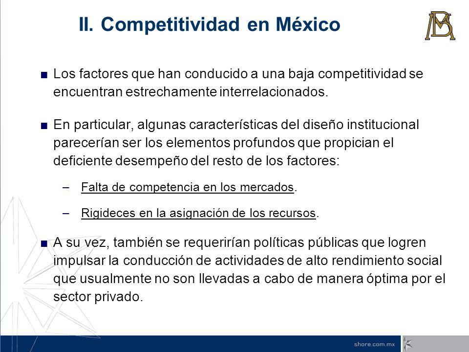 Los factores que han conducido a una baja competitividad se encuentran estrechamente interrelacionados. En particular, algunas características del dis
