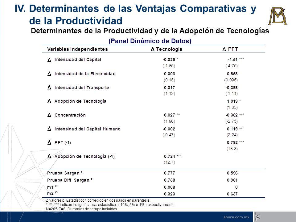 Determinantes de la Productividad y de la Adopción de Tecnologías (Panel Dinámico de Datos) IV. Determinantes de las Ventajas Comparativas y de la Pro