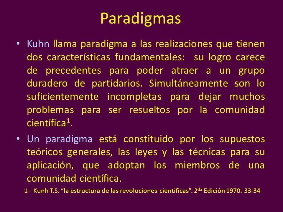 Paradigmas Kuhn llama paradigma a las realizaciones que tienen dos características fundamentales: su logro carece de precedentes para poder atraer a u