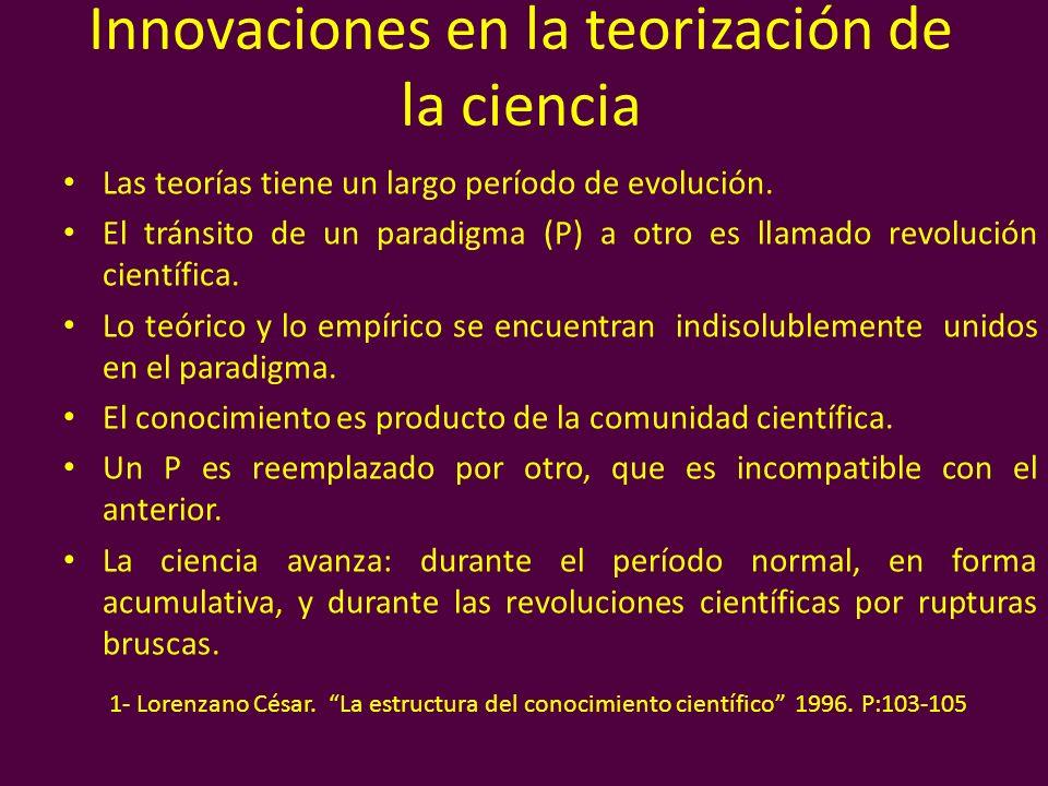 Innovaciones en la teorización de la ciencia Las teorías tiene un largo período de evolución. El tránsito de un paradigma (P) a otro es llamado revolu