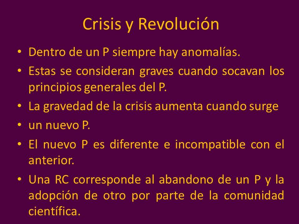 Crisis y Revolución Dentro de un P siempre hay anomalías. Estas se consideran graves cuando socavan los principios generales del P. La gravedad de la