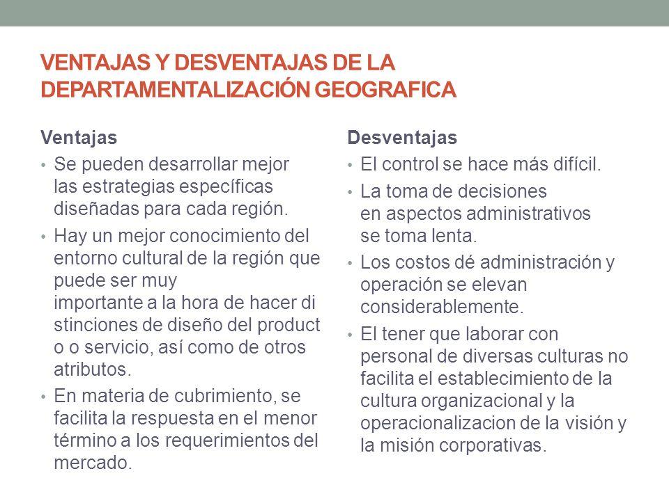 VENTAJAS Y DESVENTAJAS DE LA DEPARTAMENTALIZACIÓN GEOGRAFICA Ventajas Se pueden desarrollar mejor las estrategias específicas diseñadas para cada región.