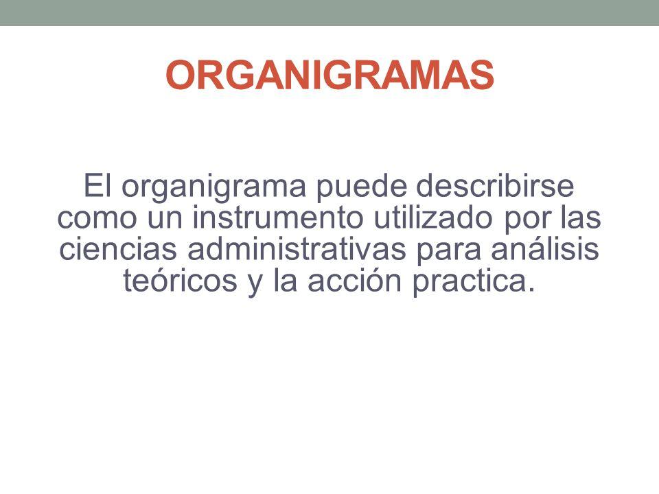 ORGANIGRAMAS El organigrama puede describirse como un instrumento utilizado por las ciencias administrativas para análisis teóricos y la acción practica.