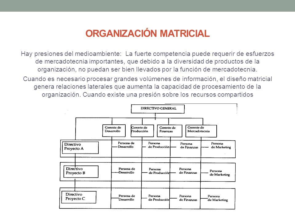 ORGANIZACIÓN MATRICIAL Hay presiones del medioambiente: La fuerte competencia puede requerir de esfuerzos de mercadotecnia importantes, que debido a la diversidad de productos de la organización, no puedan ser bien llevados por la función de mercadotecnia.