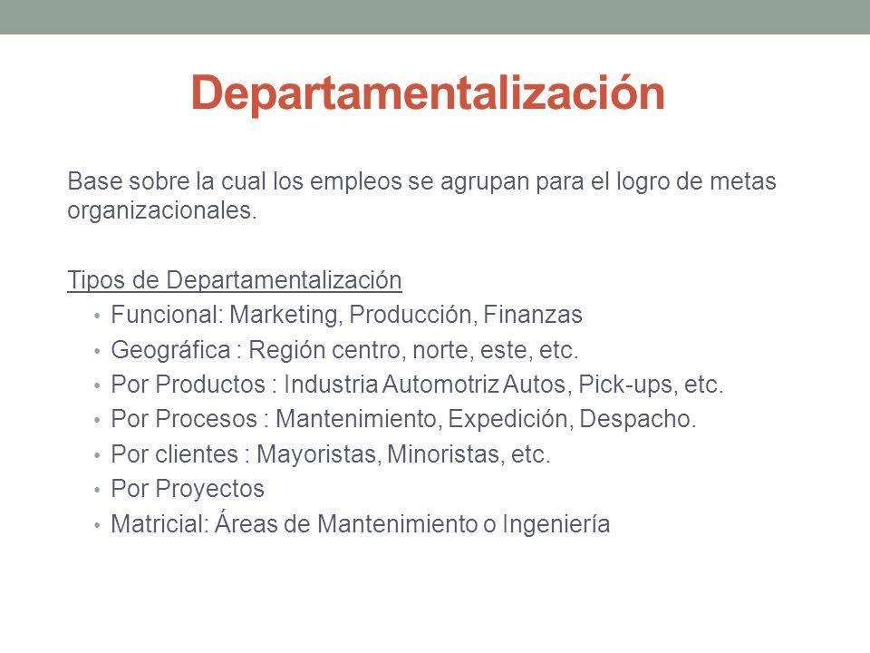 Departamentalización Base sobre la cual los empleos se agrupan para el logro de metas organizacionales.
