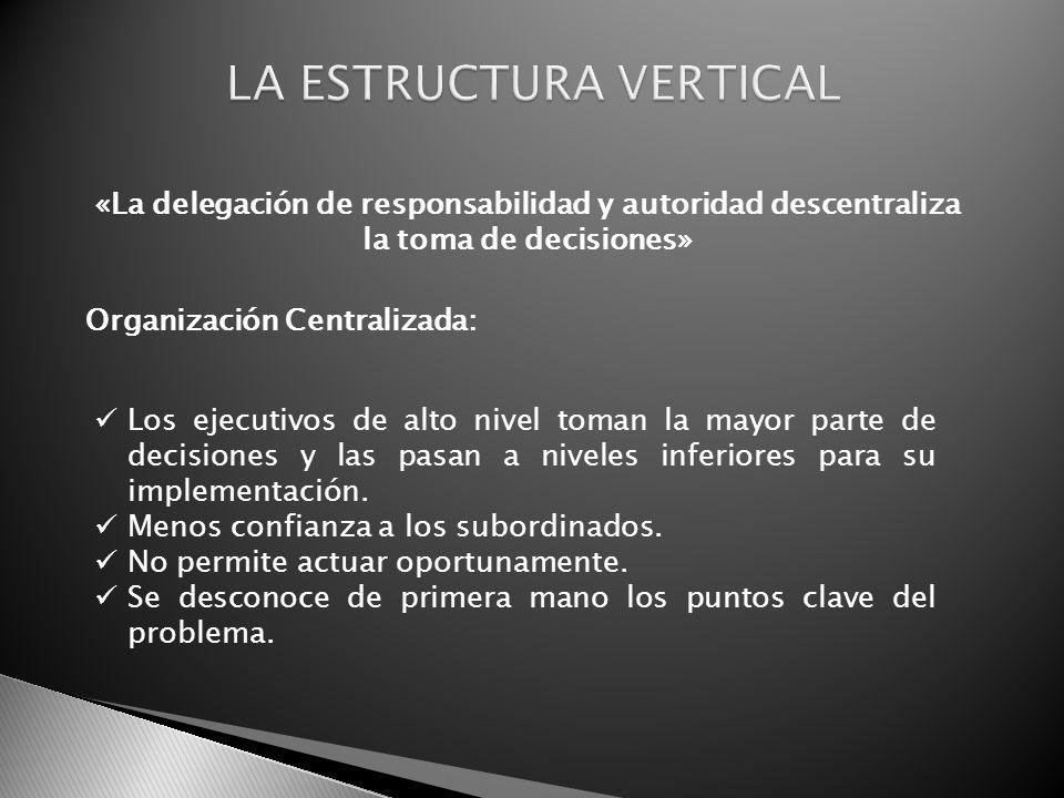 Organización Centralizada: Los ejecutivos de alto nivel toman la mayor parte de decisiones y las pasan a niveles inferiores para su implementación. Me