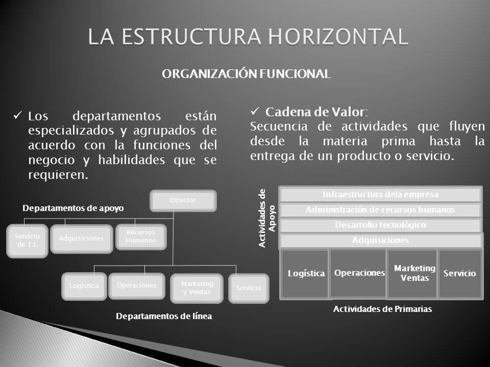 ORGANIZACIÓN FUNCIONAL Los departamentos están especializados y agrupados de acuerdo con la funciones del negocio y habilidades que se requieren. Cade
