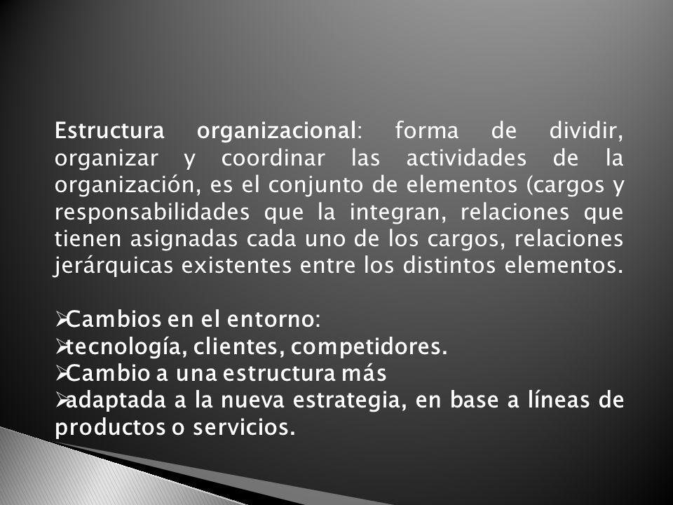Estructura organizacional: forma de dividir, organizar y coordinar las actividades de la organización, es el conjunto de elementos (cargos y responsab