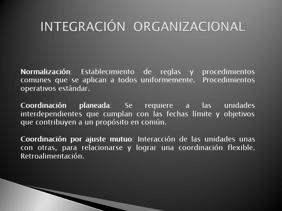 Normalización: Establecimiento de reglas y procedimientos comunes que se aplican a todos uniformemente. Procedimientos operativos estándar. Coordinaci