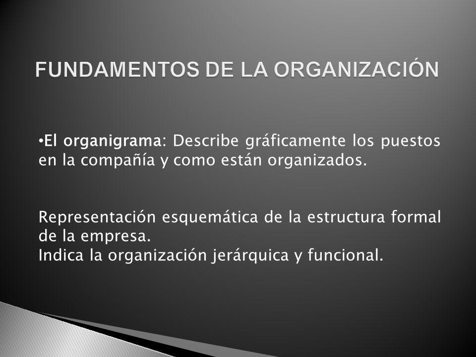 El organigrama: Describe gráficamente los puestos en la compañía y como están organizados. Representación esquemática de la estructura formal de la em
