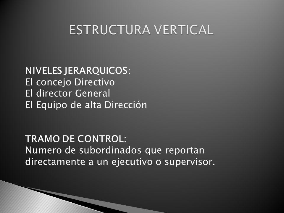 NIVELES JERARQUICOS: El concejo Directivo El director General El Equipo de alta Dirección TRAMO DE CONTROL: Numero de subordinados que reportan direct