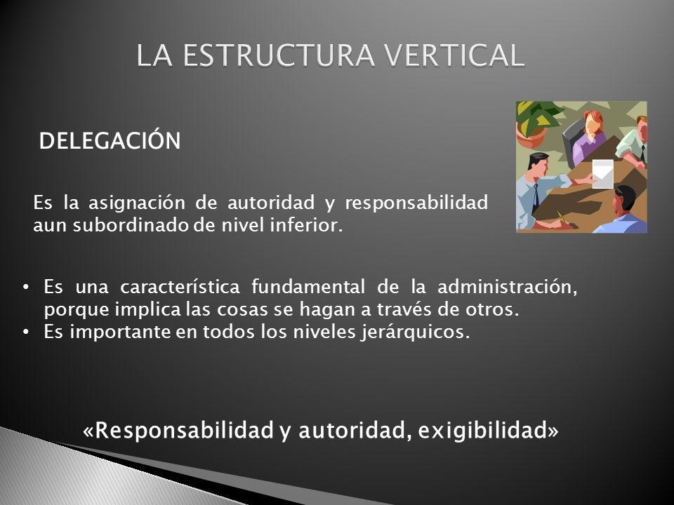 DELEGACIÓN Es la asignación de autoridad y responsabilidad aun subordinado de nivel inferior. Es una característica fundamental de la administración,