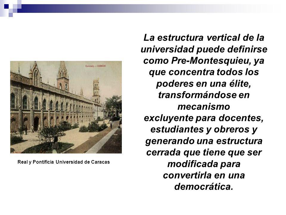 La estructura vertical de la universidad puede definirse como Pre-Montesquieu, ya que concentra todos los poderes en una élite, transformándose en mec