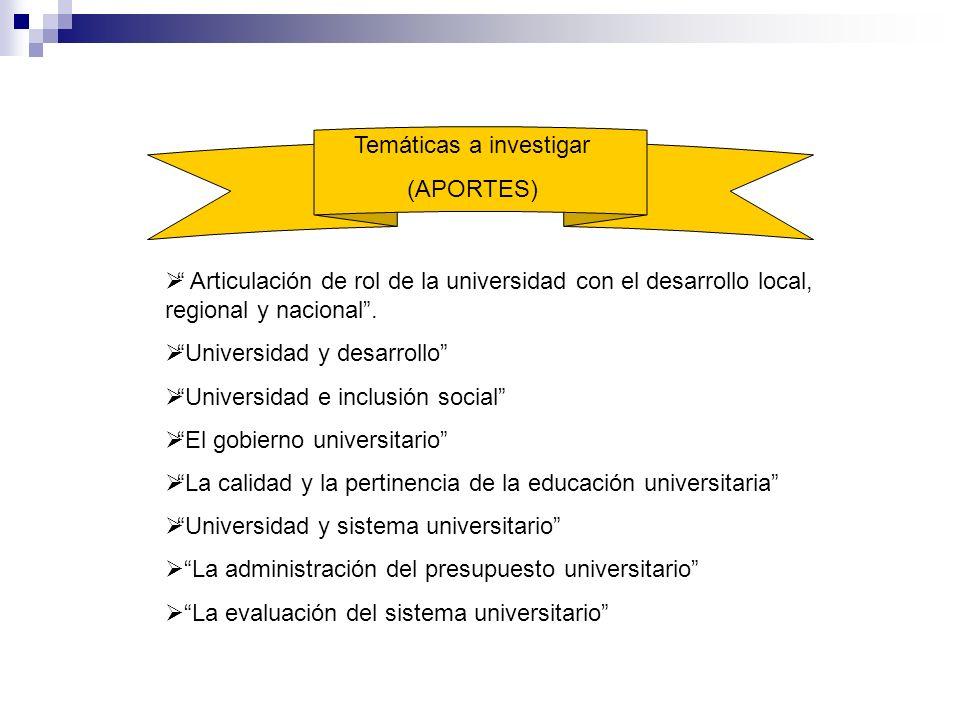 Articulación de rol de la universidad con el desarrollo local, regional y nacional. Universidad y desarrollo Universidad e inclusión social El gobiern