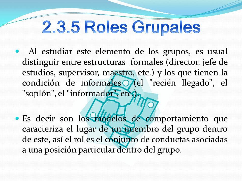 Al estudiar este elemento de los grupos, es usual distinguir entre estructuras formales (director, jefe de estudios, supervisor, maestro, etc.) y los