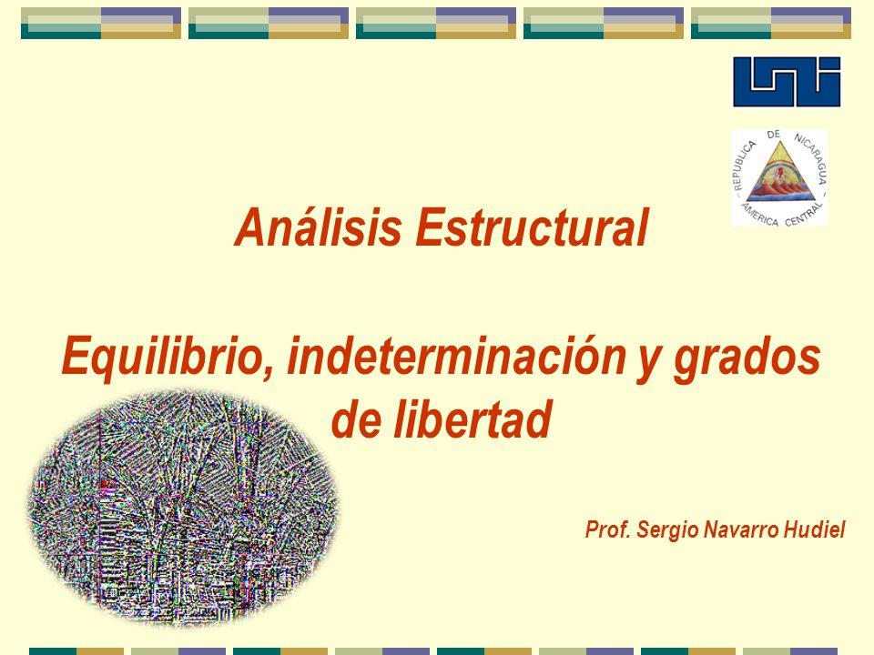 Análisis Estructural Equilibrio, indeterminación y grados de libertad Prof. Sergio Navarro Hudiel