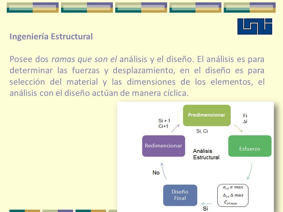 Ingeniería Estructural Posee dos ramas que son el análisis y el diseño. El análisis es para determinar las fuerzas y desplazamiento, en el diseño es p