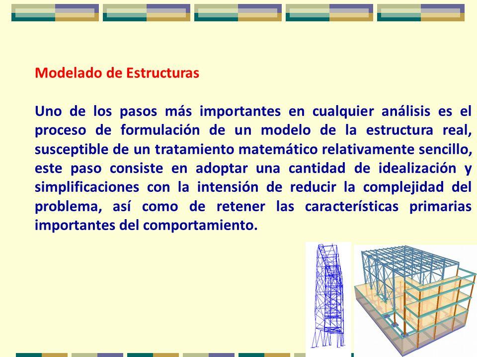 Modelado de Estructuras Uno de los pasos más importantes en cualquier análisis es el proceso de formulación de un modelo de la estructura real, suscep