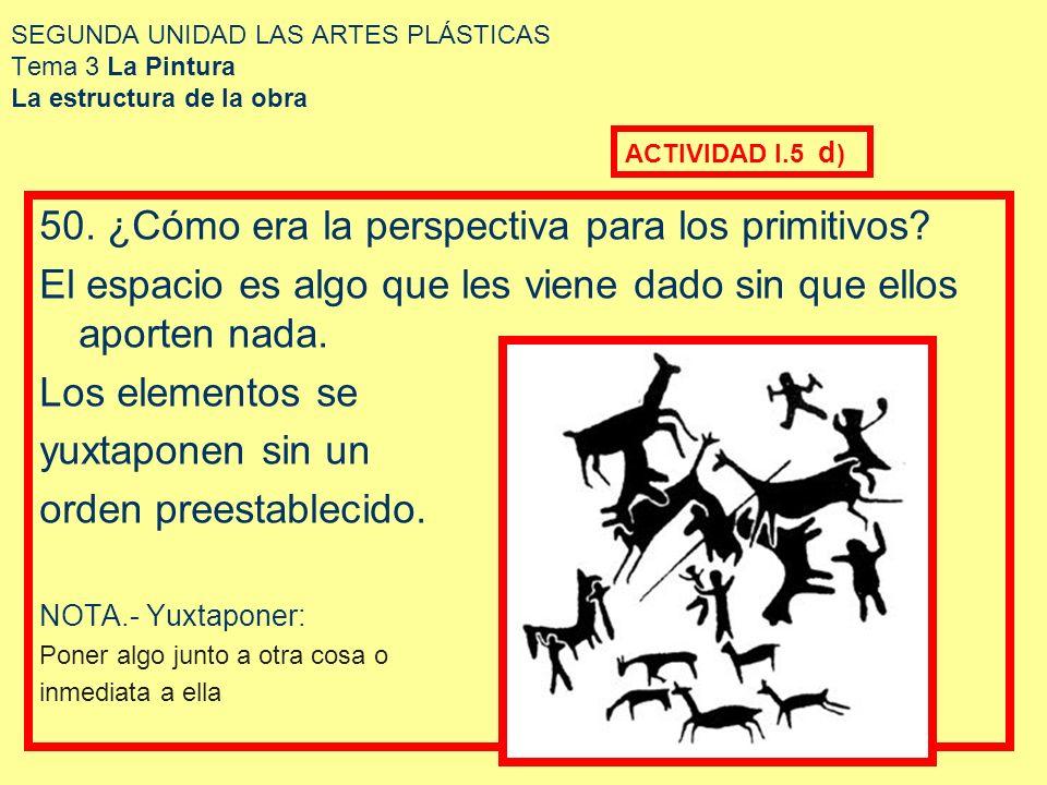 SEGUNDA UNIDAD LAS ARTES PLÁSTICAS Tema 3 La Pintura La estructura de la obra 50. ¿Cómo era la perspectiva para los primitivos? El espacio es algo que