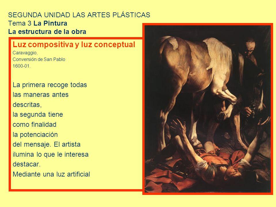SEGUNDA UNIDAD LAS ARTES PLÁSTICAS Tema 3 La Pintura La estructura de la obra Luz compositiva y luz conceptual Caravaggio, Conversión de San Pablo 160