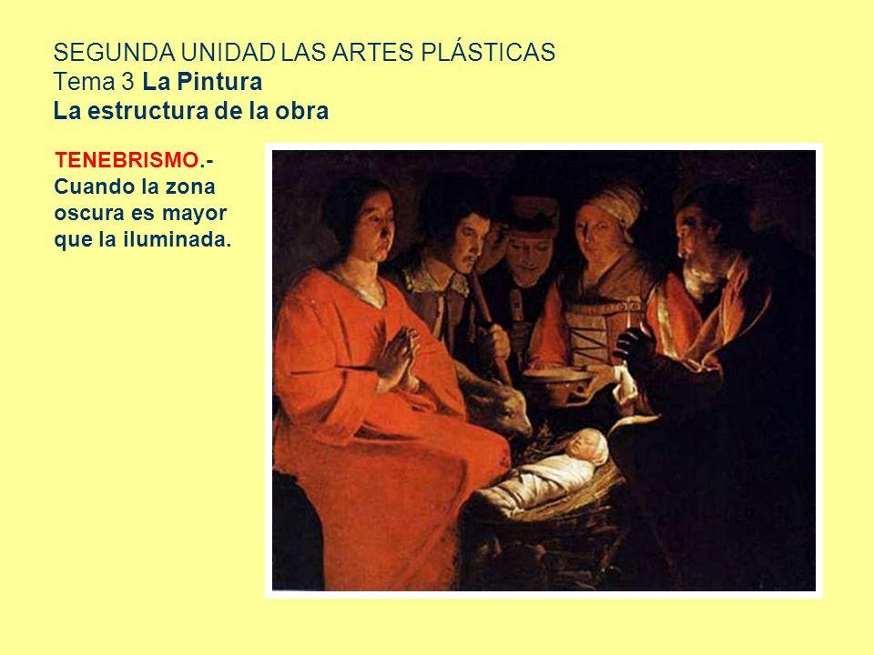 SEGUNDA UNIDAD LAS ARTES PLÁSTICAS Tema 3 La Pintura La estructura de la obra TENEBRISMO.- Cuando la zona oscura es mayor que la iluminada.