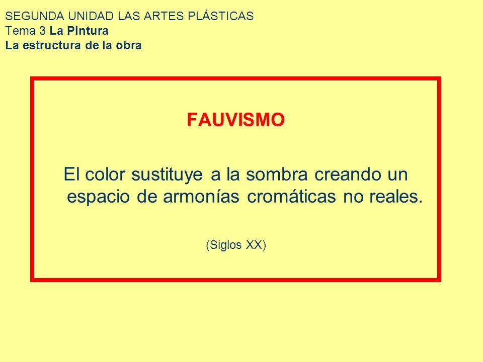 SEGUNDA UNIDAD LAS ARTES PLÁSTICAS Tema 3 La Pintura La estructura de la obra FAUVISMO El color sustituye a la sombra creando un espacio de armonías c