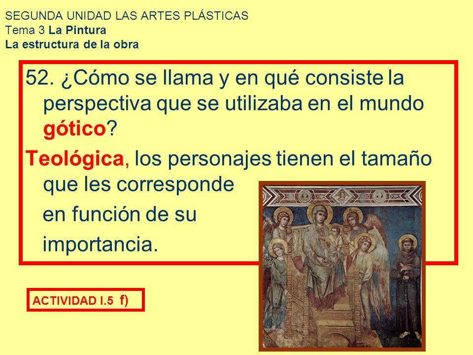 SEGUNDA UNIDAD LAS ARTES PLÁSTICAS Tema 3 La Pintura La estructura de la obra 52. ¿Cómo se llama y en qué consiste la perspectiva que se utilizaba en