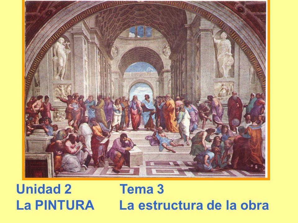 SEGUNDA UNIDAD LAS ARTES PLÁSTICAS Tema 3 La Pintura La estructura de la obra fríos.- azules o violetas Colores calientes.- rojos a verdes