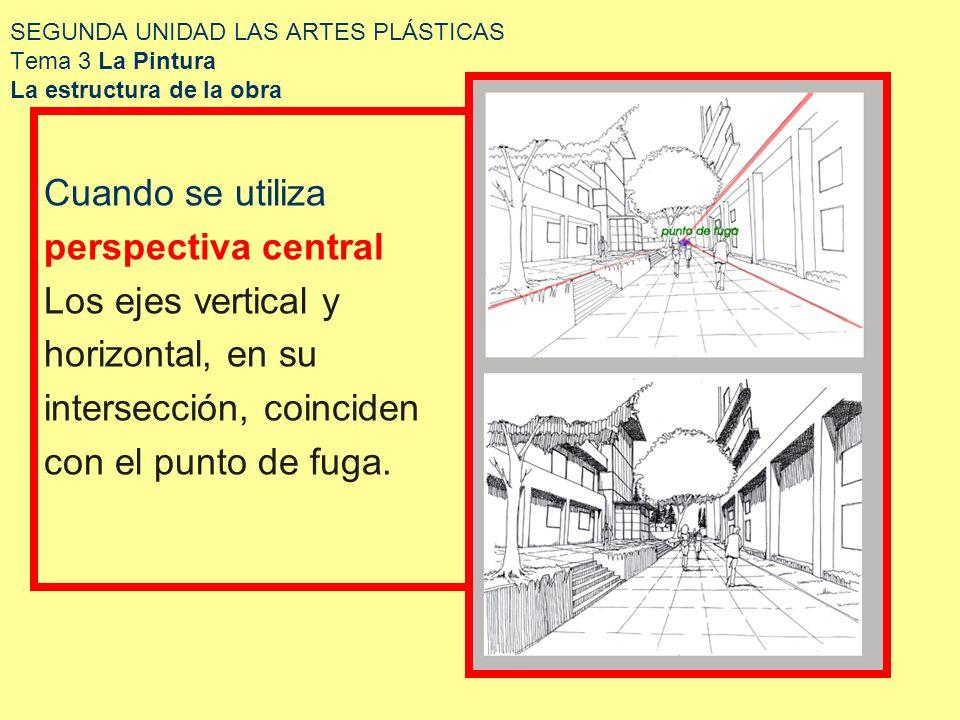 SEGUNDA UNIDAD LAS ARTES PLÁSTICAS Tema 3 La Pintura La estructura de la obra Cuando se utiliza perspectiva central Los ejes vertical y horizontal, en
