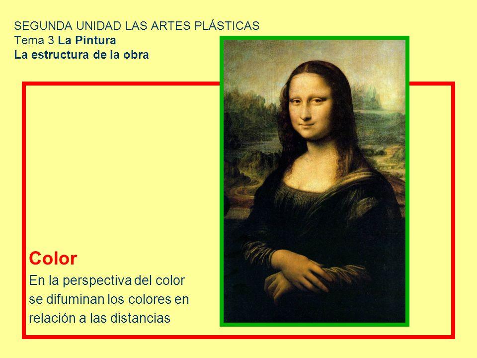 SEGUNDA UNIDAD LAS ARTES PLÁSTICAS Tema 3 La Pintura La estructura de la obra Color En la perspectiva del color se difuminan los colores en relación a